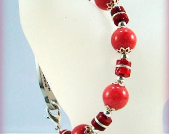 Red Coral Gemstone Silver Medical ID Alert Bracelet