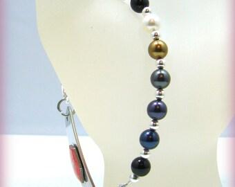 Blue Denim Swarovski Pearl Glass Beaded Medical ID Bracelet