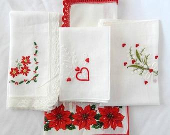 vintage damask handkerchiefs, 5 fine hankies, Switzerland, Valentines, Christmas, white red, accessories, collectibles
