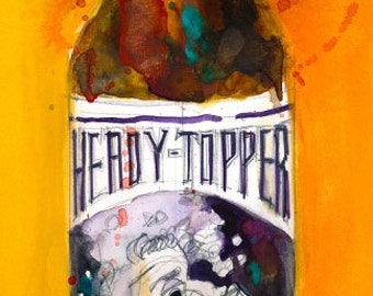 Heady Topper by The Alchemist Vermont Beer Print from Original Watercolor  (Print Size - 8.5  x. 11) or (Print Size - 10 x 20)