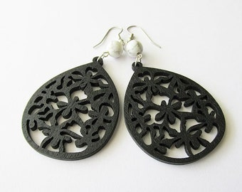 Black Wooden Earrings with White Stone Beads