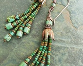 Beaded Tassel Earrings Sea Green and Terra Cotta with Antiqued Copper