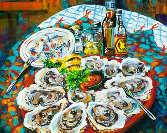 Half Dozen Oysters, Louisiana Seafood, New Orleans Art, Oysters, Raw Oysters, Slap Ya Mama Hot Sauce, GICLÉE Canvas or Print FREE SHIPPING
