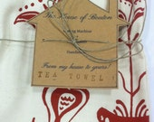 Tea Towel/Handmade/Hand-Printed Tea Towel/germanic motif/wine red/Maine Made/fair trade/FREE SHIPPING
