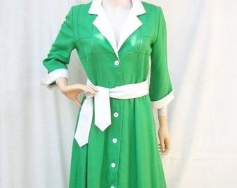 SALE 80s Kelly Green Dress size Small Medium Cutouts 80s does 50s