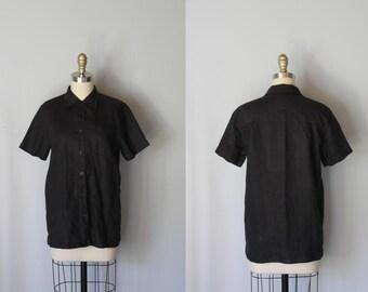 vintage Black Linen LEGGINGS button down blouse
