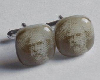 Mark Twain Cufflinks - Fused glass