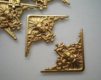 6 brass art deco corner brackets, No. 3