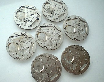 Vintage steampunk watch parts, 7 watch back plates (L25)