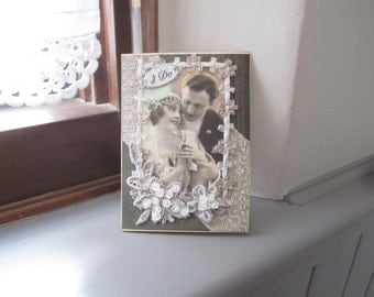 Handmade Wedding Card - Wedding Couple Card - Vintage Couple Card