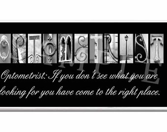 OPTOMETRIST  Inspirational Plaque black & white letter art