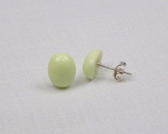 Lemon Chrysoprase Sterling Silver Earrings - 10MM x 8MM - Stud - Gemstone - Gift - Cabochon
