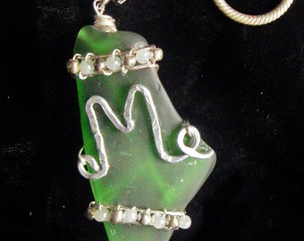 Green Sea Glass Pendant and Necklace in the Shape of the State of Maine