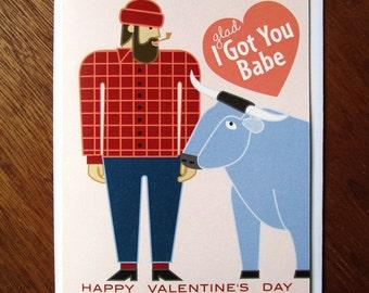 Babe Love, Paul Bunyan, Valentine's Day Card
