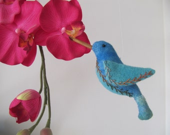 Wool felt - Blue Hummingbird ornament - pincushion - mobile