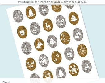 Christmas Silver and Gold Digital Collage Sheet  30x40 22x30 18x25 13x18  Oval Images for Glass and Resin Pendants Cameos Paper Craft