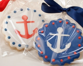 Anchor Cookies, Beach Nautical Sailboat party - 12 Decorated Sugar Cookie Favorsa