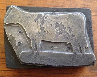 Antique PRINTERS BLOCK metal on Wood - Cow / Bull