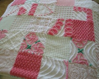 FREE SHIPPING Plush vintage chenille patchwork quilt, pink, green, white, roses, floral, flannel insert and backing