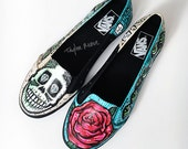 Ballet Skull Flats hand painted size 8.5