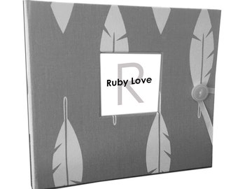 BABY BOOK | Gray Feathers Silhouette Baby Book | Ruby Love Baby Memory Book