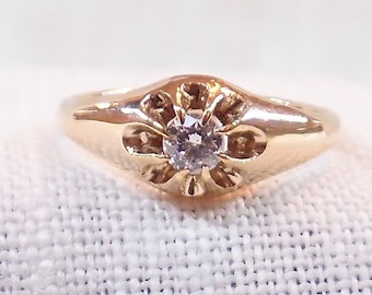Victorian 14k Gold and Diamond Engagement Ring .25 Carat