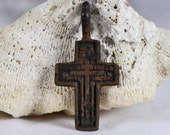 antique or vintage cross,  jewelry, religion curcifix, faith christianity, coolvintage, metal patina cross, x 301