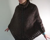 Deep Brown Tweed Turtleneck Hand Knit Warm Wool Poncho