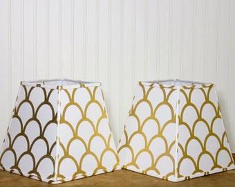 Lamp Shade / Modern Lamp Shade / Gold Scallop / Lampshade / Caitlin Wilson / Buffet Lamp Shade / Nursery / Chic