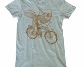 WOMENS Goldfish on a Bicycle - Fine Jersey Ladies T Shirt - Seafoam Green