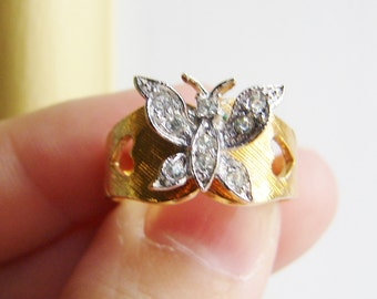 Vintage 14 KGE ESPO gold nouveau style butterfly cocktail ring with clear crystals- size 7.5 (RI-1)