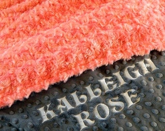 Adult Minky Blanket , 60 x 70  Personalized Coral Rose Swirl & Gray Minky Throw Blanket // Coral Gray Blanket /  Twin Blanket / Gift for her