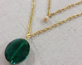 Emerald Glass Bead Double Strand Necklace