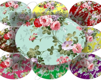 Shabby Chic large oval for belt buckle and more digital collage sheet No.1619