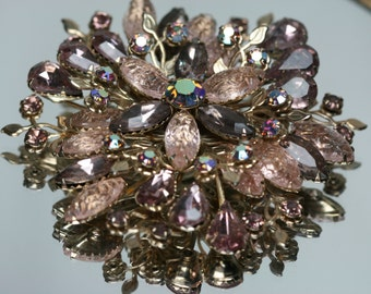 Vintage Gold Tone Metal , Pale Pink and Purple Floral Brooch