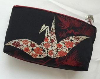 Upcycled Kimono Cosmetic Purse / Zipper Pouch - Origami Crane