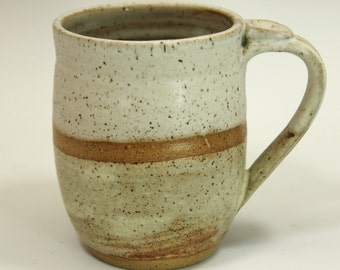 Ceramic Mug  - Sand and Nutmeg soft organic matt colors with thumb rest  Ready to Ship- In-Stock