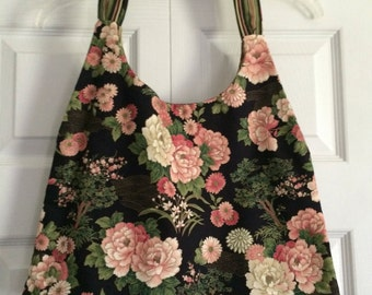 Black And Pink Floral Reversible Swing Bag