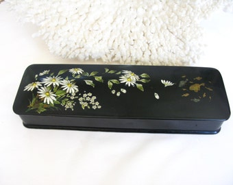 19th Century Antique French Lacquer Handpainted Daisies/Floral Glove Box