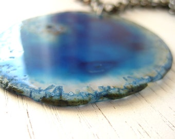 Large Ocean Blue Crystal Agate Pendant Slice with Gunmetal Chain - Statement Necklace