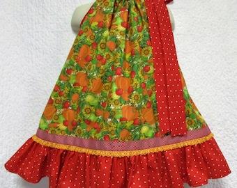FALL Girls Dress 2T/3T Sunflowers Pumpkins Apples Pillowcase Dress, Pillow Case Dress, Sundress