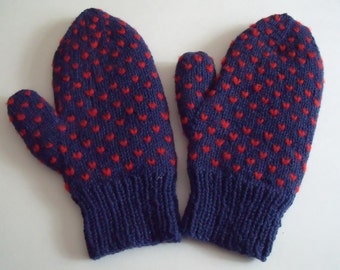 Large Men's Thrummed Wool Hand Knit Mittens, Navy and Red, So Warm, All Wool, Thick and Cozy, 11.5 in. long to fit Large Hands