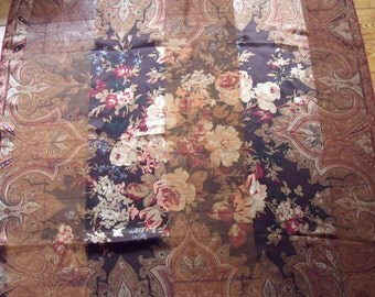 Ralph Lauren 100% Silk Scarf, Large 31 inches square Semi Sheer Floral Paisley Design