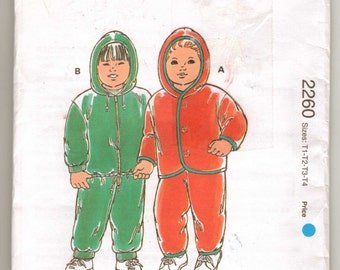 Kwik Sew 22607 Sewing Pattern Toddlers Pants & Jacket Stretch Fabric Only Sz T1-T2-T3-T4