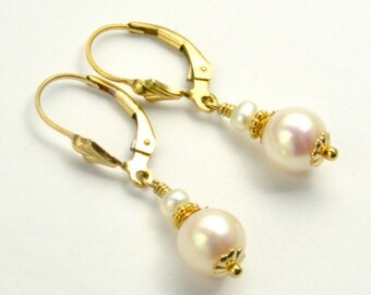 Made In Alaska Freshwater Pearl 14K Gold-filled Leverback Earrings Free USA Shipping