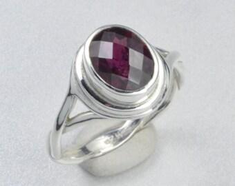 Made In Alaska Checkerboard Rhodolite Garnet Argentium Sterling Silver Twist Ring