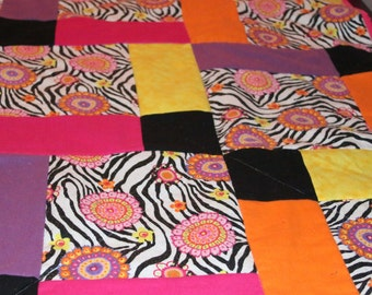 CLEARANCE Zebra Floral Shuffled 9 Square Pattern Quilt Lap Blanket Black White Zebra Fleece Back