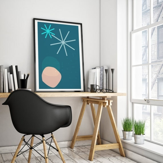 Abstract summer night// Mid Century Poster, 24x36, minimalist art print, geometric print, blue and pink, abstract