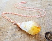 Citrine Necklace, Copper Jewelry, Bohemian Jewelry, Healing Stone Jewelry, Citrine Necklace, November Birthstone, bailybelle