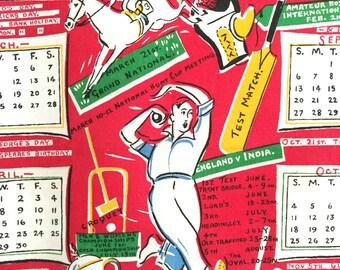 Vintage Calendar Towel 1959 Sports Activities Kitchen Wall Hanging Golf Tennis Sailing Gift for Man